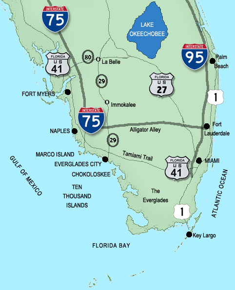 florida map of the everglades